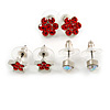 Hot Red Jewelled Stud Earrings (Set of 3 Floral)