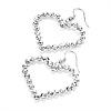 Diamante Heart Drop Earrings (Silver Tone) - 5cm Drop
