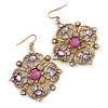 Square Shape Jeweled Filigree Drop Earrings (Burn Gold & Lilac) - 7cm Drop