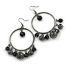 Gun Metal Bead Hoop Earrings (Black) - 4.5cm Diameter