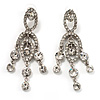 Stunning Clear Swarovski Crystal Chandelier Earrings (Silver Tone)