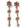 Long Statement Floral Dangle Earrings (Silver&Peach) -7cm Drop
