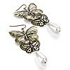Bronze Tone Butterfly Drop Earrings - 8cm Length