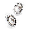 White Crystal Faux Pearl Stud Earrings (Silver Tone) - 1.5cm Diameter