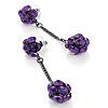 Gun Metal Purple Diamante Drop Earrings - 6.5cm Length