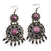 Long Burn Silver Purple Diamante Chandelier Earrings - 9cm Drop