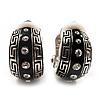 Small C-Shape Greek Style Black Enamel Clip On Earrings (Silver Tone)