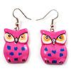Deep Pink Wood Owl Drop Earrings - 4.5cm Length