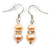 Small Light Cream Freshwater Pearl Crystal Drop Earrings (Silver Tone) - 3cm Length
