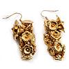 Gold Tone Floral Cluster Drop Earrings - 5.5cm Length
