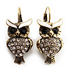 Antique Gold Tone Clear Crystal Owl Drop Earrings
