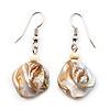 Antique White Shell Bead Drop Earrings (Silver Tone)