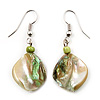 Lime Green Shell Bead Drop Earrings (Silver Tone)