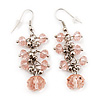Pale Pink Acrylic Bead Drop Earrings - 5cm Length