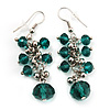 Emerald Green Acrylic Bead Drop Earrings - 5cm Length