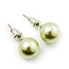 Pale Green Lustrous Faux Pearl Stud Earrings (Silver Tone Metal) - 9mm Diameter