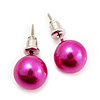 Deep Pink Lustrous Faux Pearl Stud Earrings (Silver Tone Metal) - 7mm Diameter