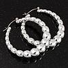 Silver Tone Puffed Hoop Earrings - 5cm Diameter