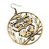 Bronze Tone 'Owl' Hoop Earrings -7.5cm Drop