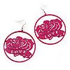 Deep Pink 'Rose & Love' Hoop Earrings (Silver Tone Metal) - 5.5cm Diameter