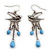Antique Silver Swallow & Blue Bead Drop Earrings - 6cm Length