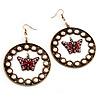 Bronze Tone Crystal Butterfly Hoop Earrings - 6cm Diameter