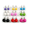 7mm, 9mm, 11mm Multicoloured Acrylic Bead Set of 9 Stud Earring (Silver Metal Finish)