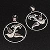Antique Silver 'Swallow' Hoop Earrings - 5cm Diameter