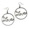 Gun Metal 'Love' Hoop Earrings - 4.5cm Diameter