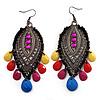Gun Metal Multicoloured Acrylic Bead Drop Earrings - 10cm Length