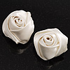 Large Bridal Fabric Rose Stud Earrings (Silver Tone Finish) - 3cm Diameter