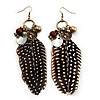 Long 'Charm & Feather' Drop Earrings - 13cm Length