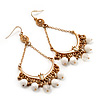 Gold Plated White Bead Chandelier Earrings - 8cm Drop