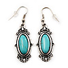 Burn Silver Turquoise Stone Drop Earring - 5cm Length
