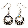 Vintage Hammered Diamante Round Drop Earrings (Burn Silver Metal & Clear Crystals) - 4cm Length