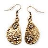 Teardrop Textured Floral Drop Earrings In Gold Tone Metal - 5cm Length