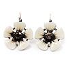 White/Black Enamel Daisy Drop Earrings (Silver Plated Metal) - 3cm Length