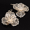Oversized Gold Plated Filigree Floral Drop Earrings - 6cm Diameter