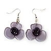 Lavender Flower Acrylic Drop Earrings (Silver Tone Finish) -5.5cm Length