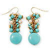 Turquoise Coloured And Simulated Pearl Bead Drop Earrings (Gold Plated Finish) - 6cm Length
