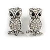 Antique Silver Crystal Owl Stud Earrings - 2.5cm Length
