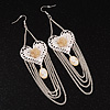 Long Chain 'Cameo' Heart Drop Earrings (Silver Plated Metal) - 13cm Length