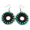 Teal Green Wood Bead Hoop Drop Earrings (Silver Tone Metal) - 5.5cm Drop