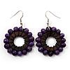 Purple Wood Bead Hoop Drop Earrings (Silver Tone Metal) - 5.5cm Drop