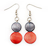 Round Double Shell Drop Earrings (Red/Dark Grey) - 7cm Length