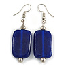 Navy Blue Square Glass Drop Earrings - 5.5cm Length
