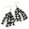 Black Glass Bead And Semiprecious Nugget Drop Earrings (Silver Tone Metal) - 7cm Length