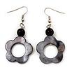 Dark Grey Open Flower Shell Drop Earrings (Silver Metal Finish) - 5.5cm Drop