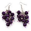 Wood Purple Cluster Drop Earrings (Silver Tone Metal) - 6.5cm Length