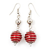 Silver Tone Bright Red  Faux Pearl Drop Earrings - 5.5cm Drop